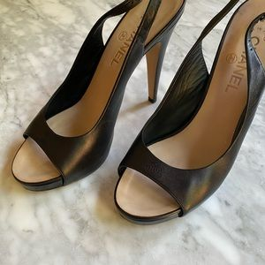 ***SOLD*** CHANEL leather slingback heels
